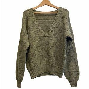 VINTAGE Plaid Knit Sweater Custom made Sz M